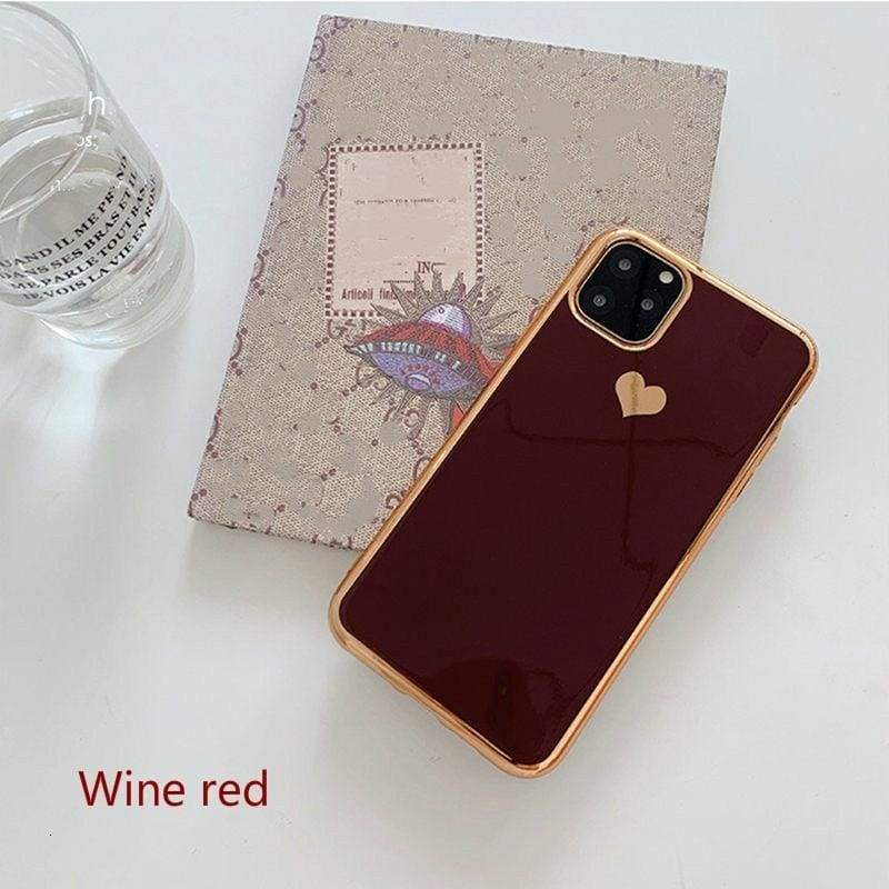 Galvanized Love Heart Phone Case for iPhone 11 11Pro Max XR XS X Max 7 7 6 6S Plus Shockproof Protective Cover Capa
