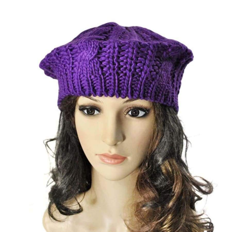 Fashion Women's Warm Winter Beret Braided Baggy Knit Crochet Beanie Hat Ski Cap Girls Xmas Gift