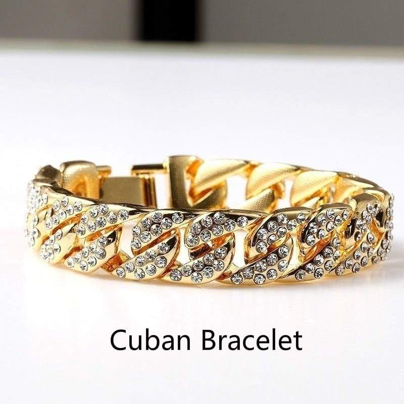 Men's Fashion Fully Iced Out 14k Yellow Gold Diamond Miami Cuban Link Bracelet Clear CZ Crystal Tennis Chain Bracelet Hip Hop Jewelry