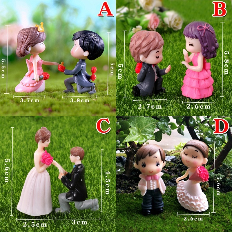 Sweety Lovers Couple Figurines Miniatures Fairy Garden Gnome Terrariums Bonsai Home Decoration DIY