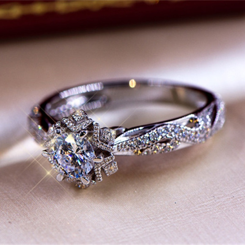 Dazzling Round Cut AAA Zircon Diamond 925 Sterling Silver Vintage Floral Ring Bride Engagement Wedding Band Size 6-10