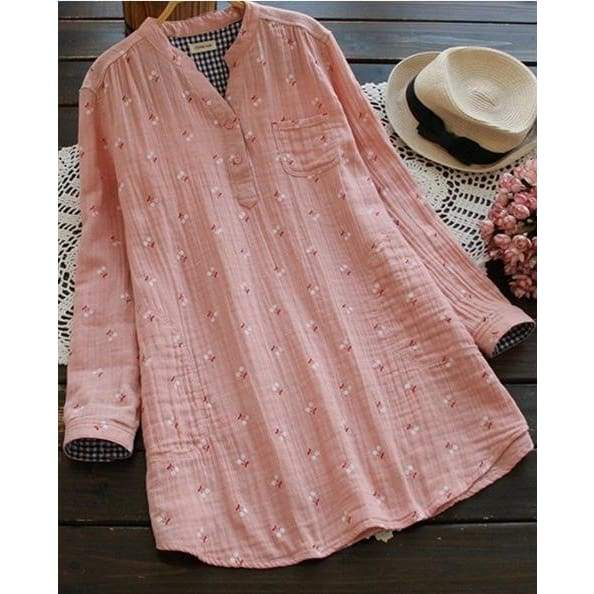 Female Fashion Casual Loose Long Sleeved Print Pleated Blouses Dress