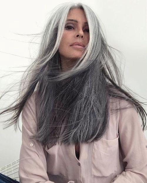 Black And Grey Lace Front Wig