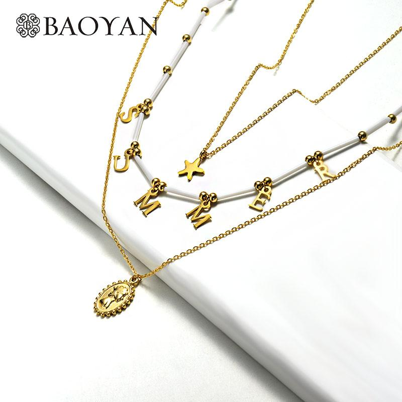 Baoyan Natural Pearl Shell Necklace 3 Layered Dolphin Seashell Star Pendant Necklace Fashion Gold Stainless Steel Necklace Women