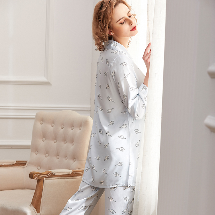 Printed long-sleeved pants underwear autumn and winter women's pajamas(Plus Size)