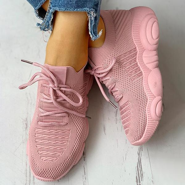 Faddishshoes Non-Slip Knitted Breathable Lace-Up Yeezy Sneakers