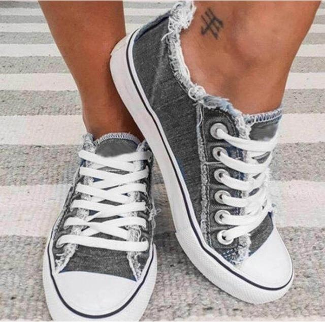 Women's distressed canvas sneakers casual shoes for walking