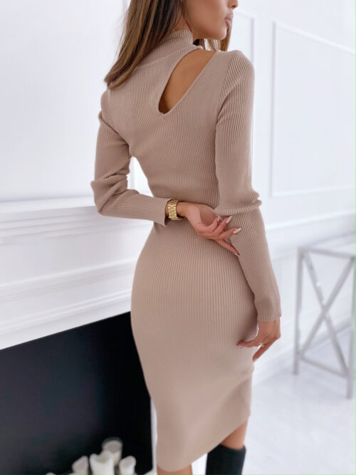 Women sexy irregular neck tight sweater dress