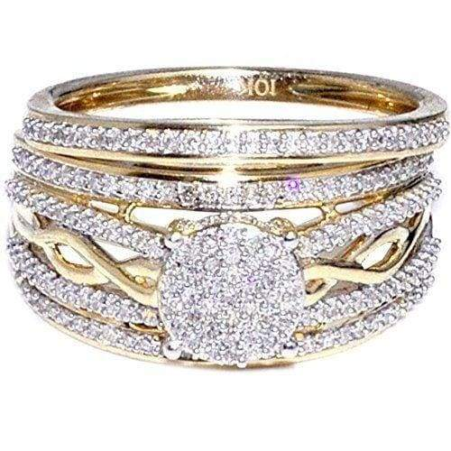 Dazzling Women's 14K Yellow Gold Diamond Ring Set Anniversary Gift Engagement Bridal Wedding Rings Jewelry Size 5-10