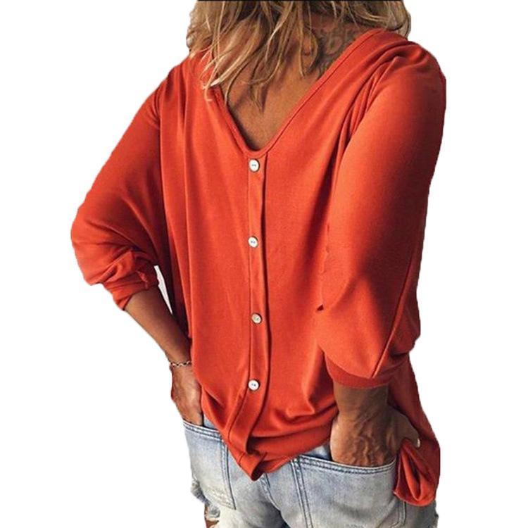 Women's V-neck Back Button T-shirt Loose Top
