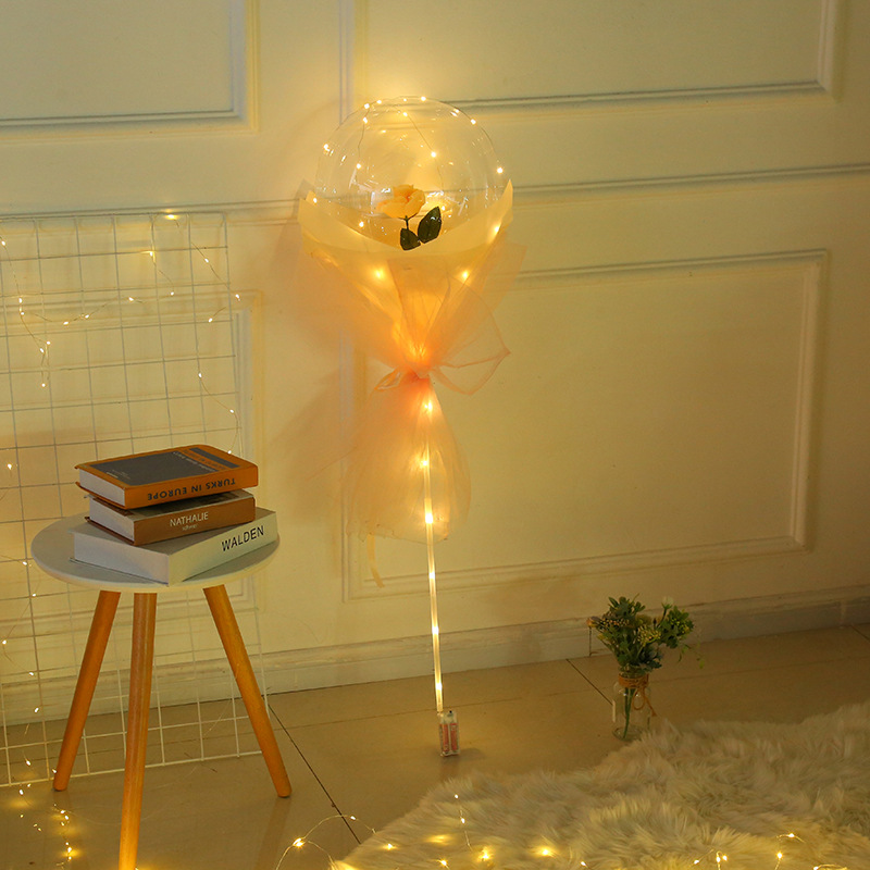 LED Luminous Balloon Rose Bouquet Transparent Bobo Ball Rose Valentines Day Gift Birthday Party Wedding Decoration Gift Balloons