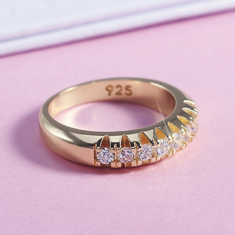 Gold Ring 925 Sterling Silver Womens Ring White Sapphire Wedding Band Engagement Diamond Ring