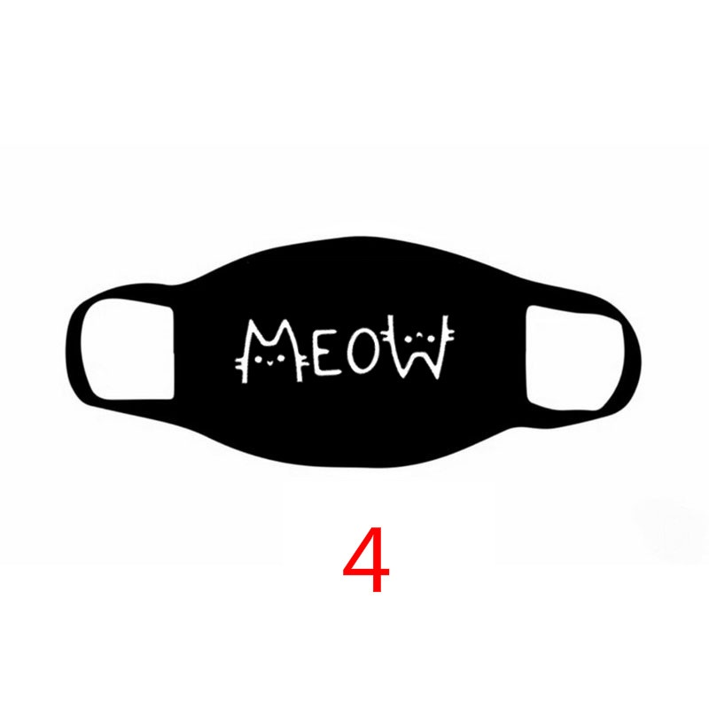 Unisex Fahsion Cat Printed Cotton Face Masks Black Washable Mask Mask No Touching Social Distancing Mask
