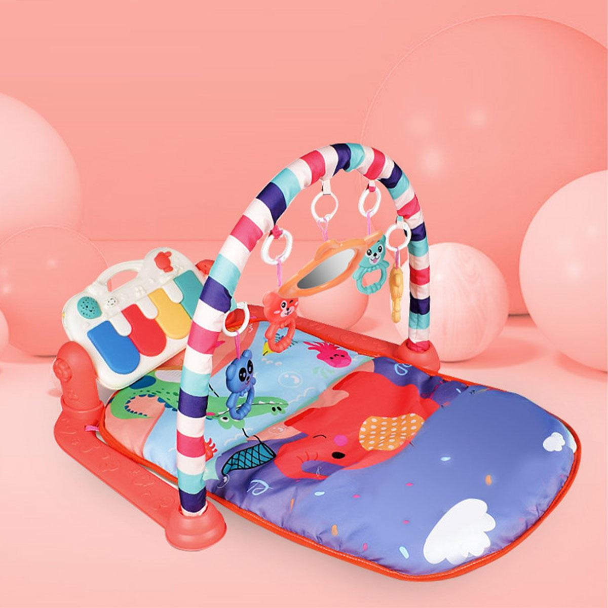 Delicate 3 In 1 Baby Infant Gym Play Mat Fitness Carpet Music Fun Piano Pedal Educational Toys -  Red