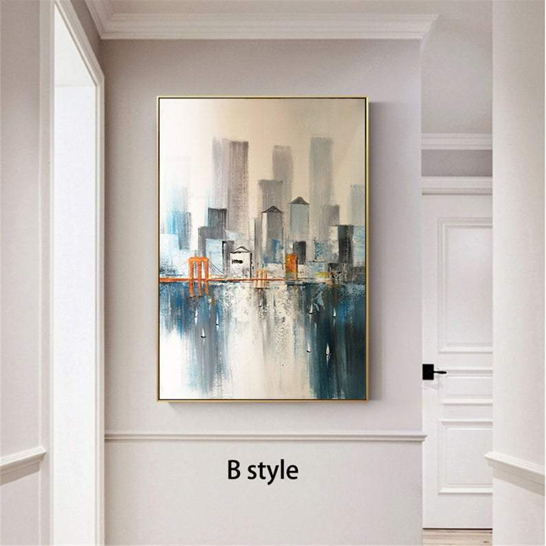 Golden Gate Bridge abstract painting on canvas wall art pictures for living room hallway wall decor Texture original acrylic cityscape decor