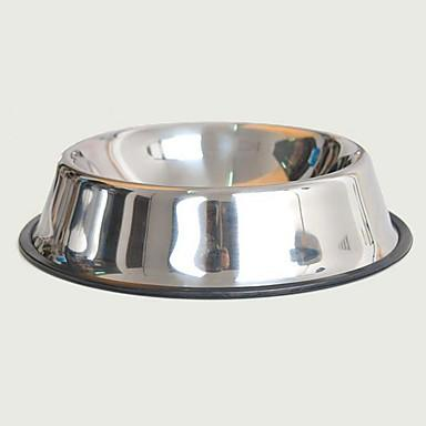 Dogs Rabbits Cats Bowls & Water Bottles / Feeders / Food Storage 340 L Stainless steel Reflective Portable Mini Easy to Carry Dogs & Cats Solid Colored Silver Bowls & Feeding