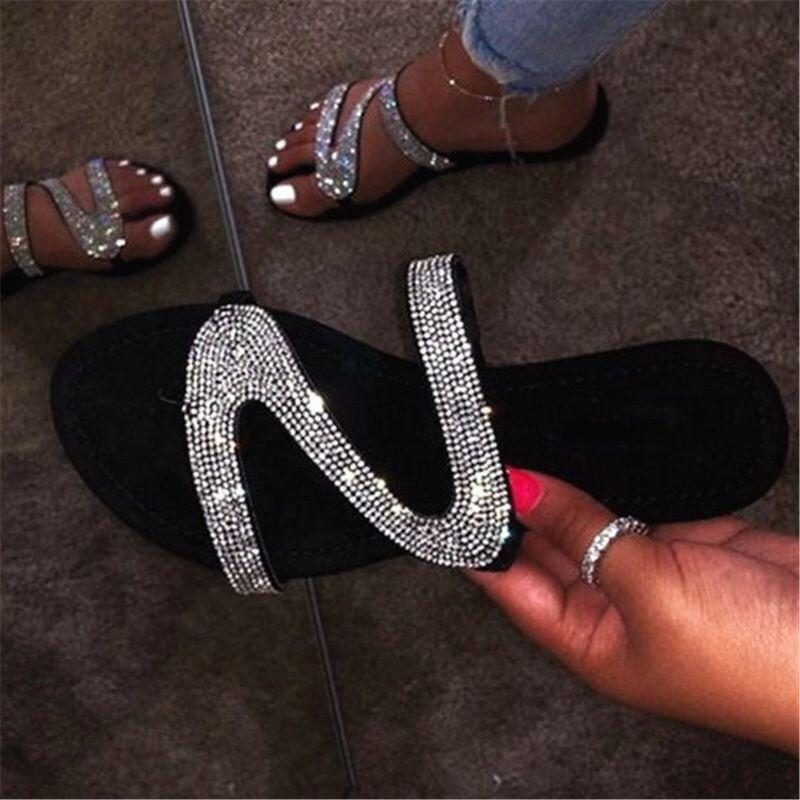 Flat rhinestone slides fashion shiny sandals