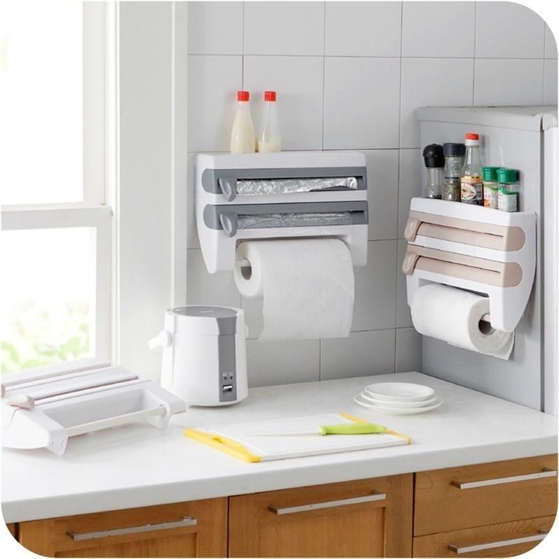 US Seller Kitchen Cling Film Sauce Bottle Storage Rack Paper Towel Holder Kitchen Accessories