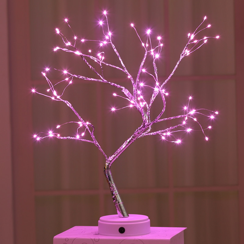 Christmas decoration lights Pearl starry night light Led copper wire lamp INS style simple tree light