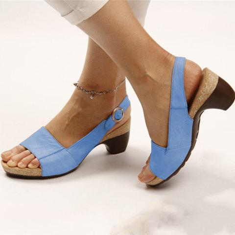 Elegant Comfy Comma Heels Adjustable Buckle Strap Sandals
