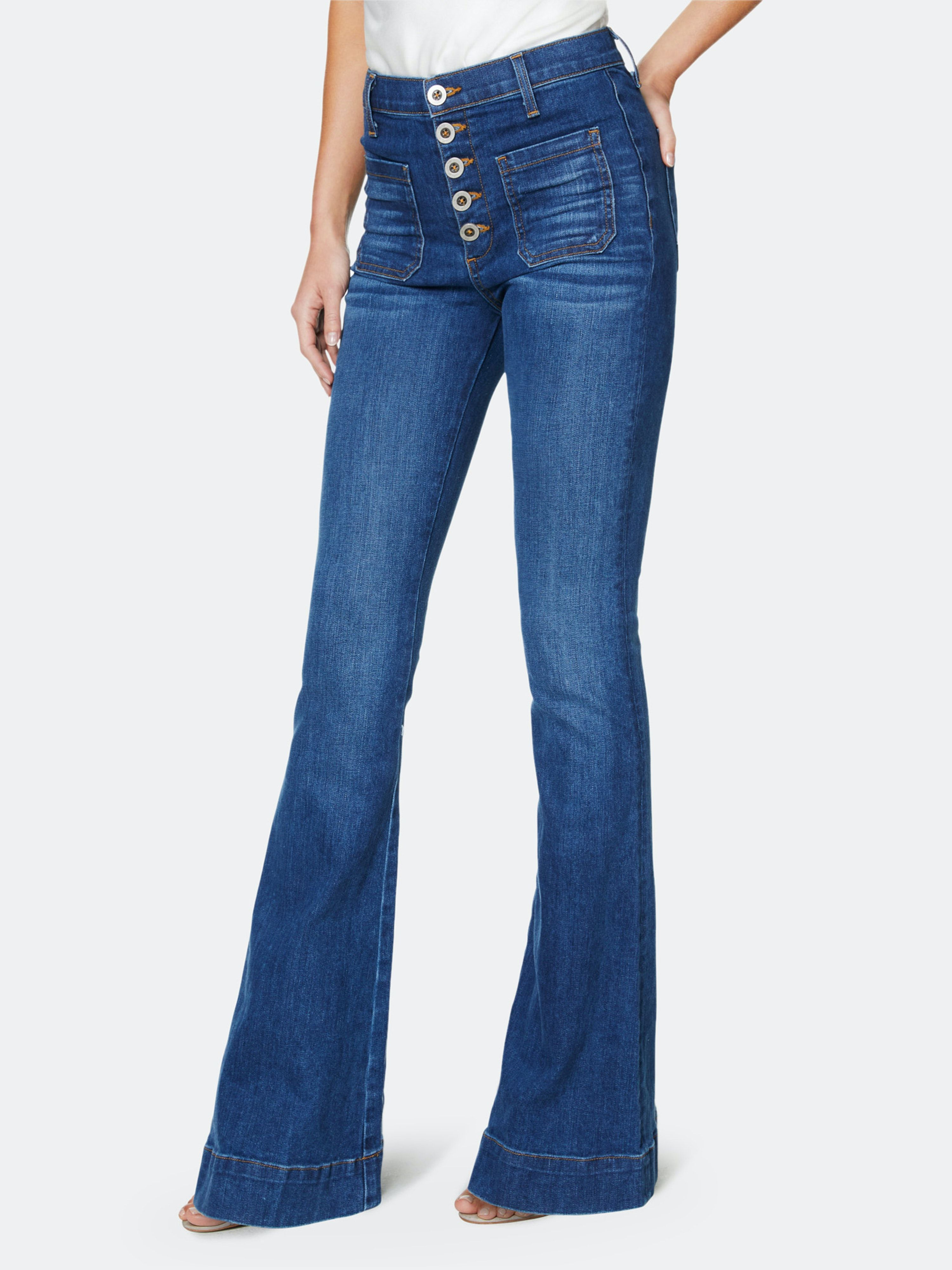2020 New Women Jeans Fitted Trousers Smart Casual Jeans Female Grey Check Trousers Jeans Flare