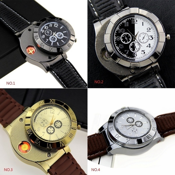 Electronic cigarette lighter Watch USB Rechargeable Cigar Cigarette Lighter Men Wrist Watch