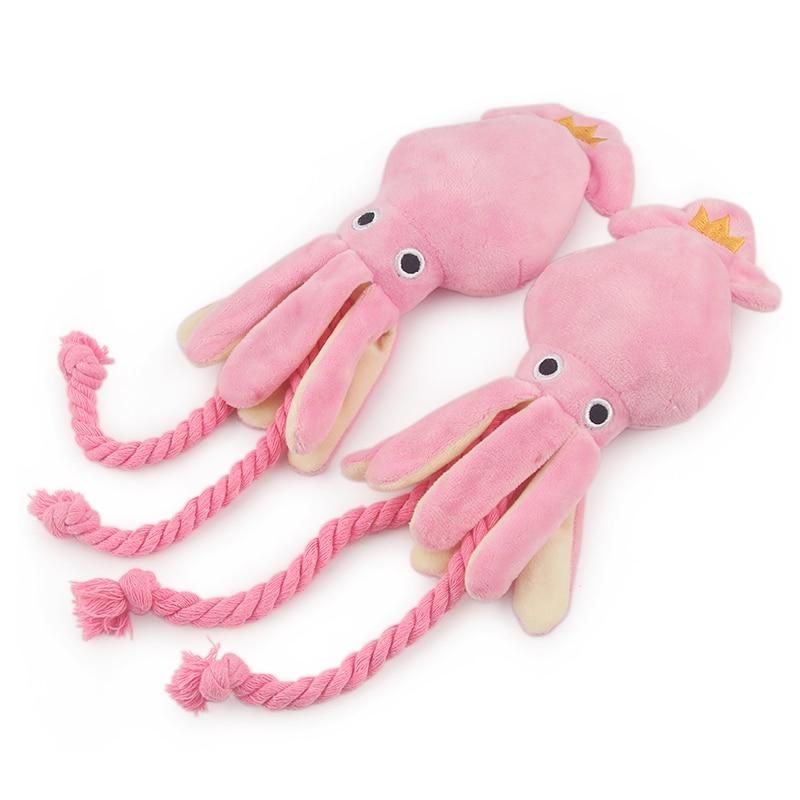 Cute Squid Dog Toy Octopus Cute BB Plush Pet Puppy Rope Toys Pink Chew Squeak Toys