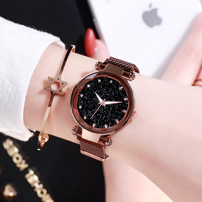 Adjustable Mesh Strap Starry Sky Dial Fashion Women's Watch
