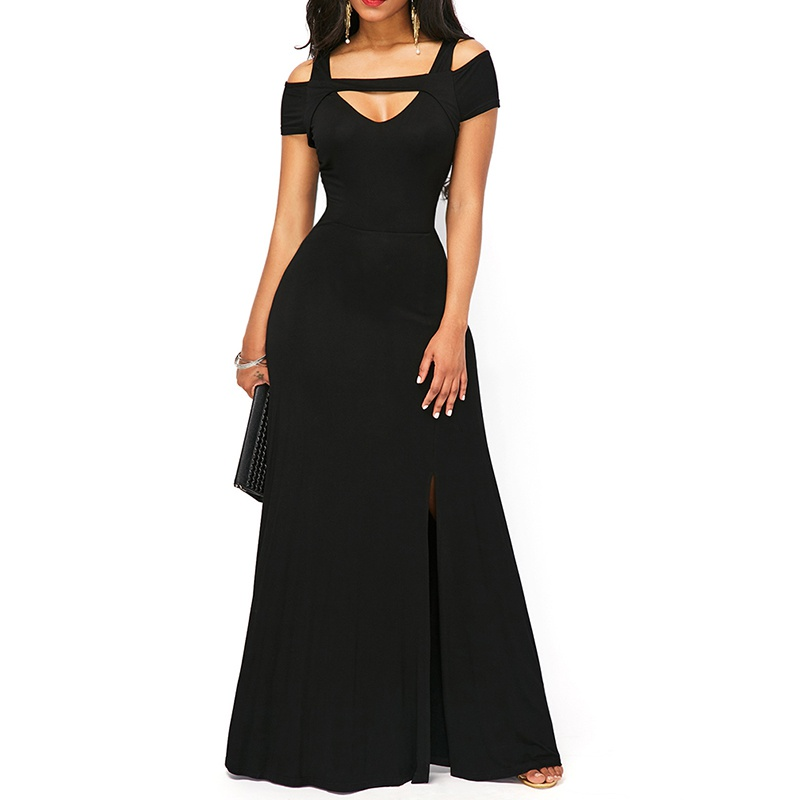 Women's V Neck Cold Shoulder Long Formal Evening Gowns Full Length Maxi Party Dress 3 Colors