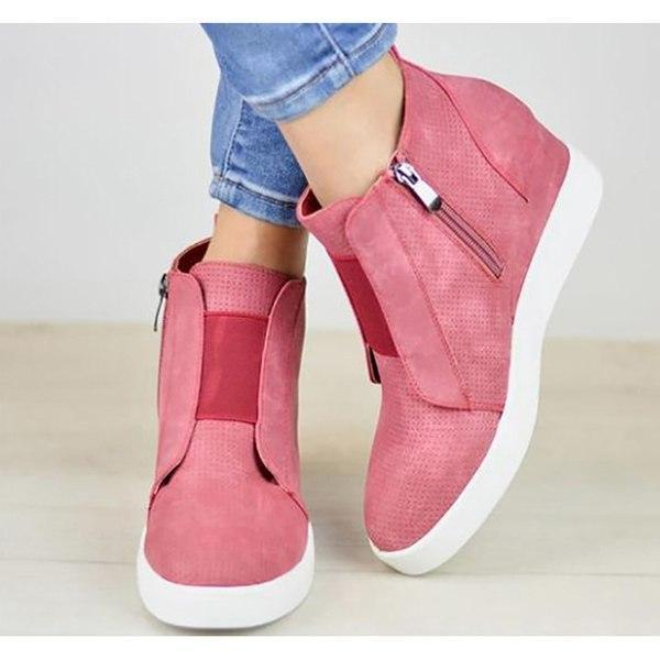 Chunky Mid Wedge Heels Ankle Boots Pumps Platform
