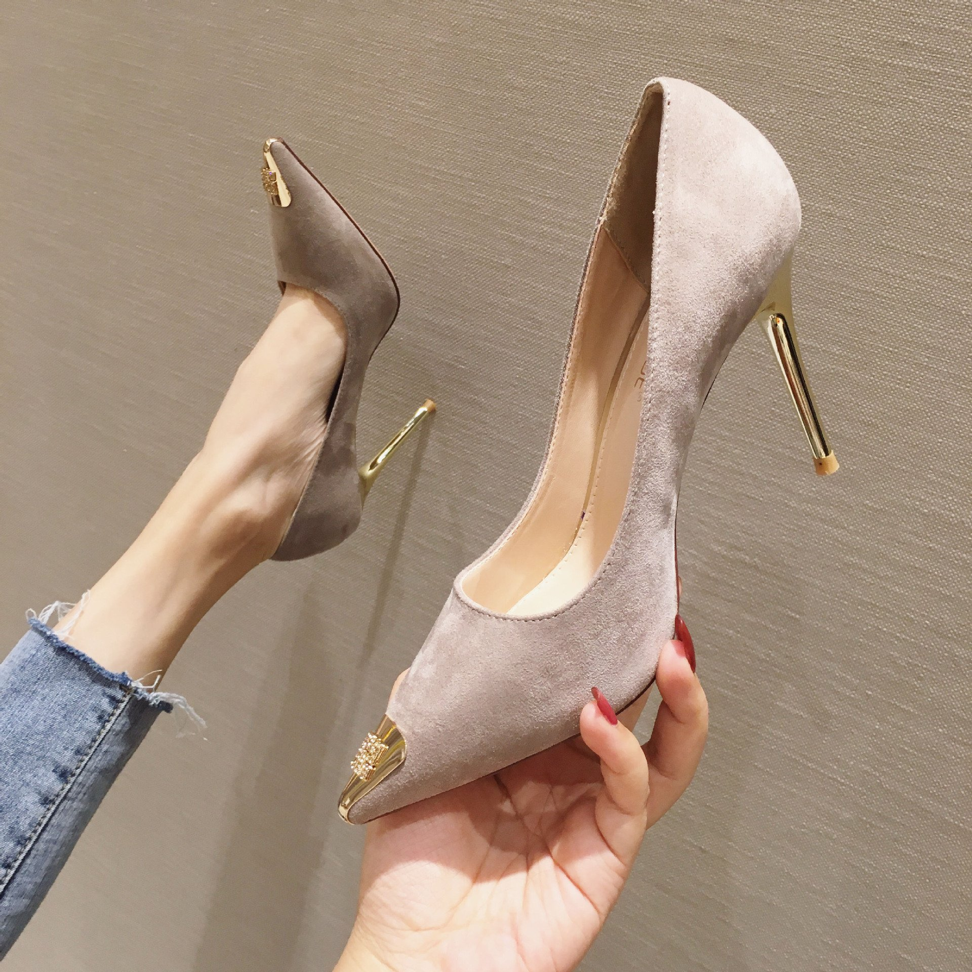 Trendy Women High Heels Tactical Shoes Cork Wedge Heels Fish Shoes Comfortable Dress Shoes Silver Court Shoes Coral High Heels
