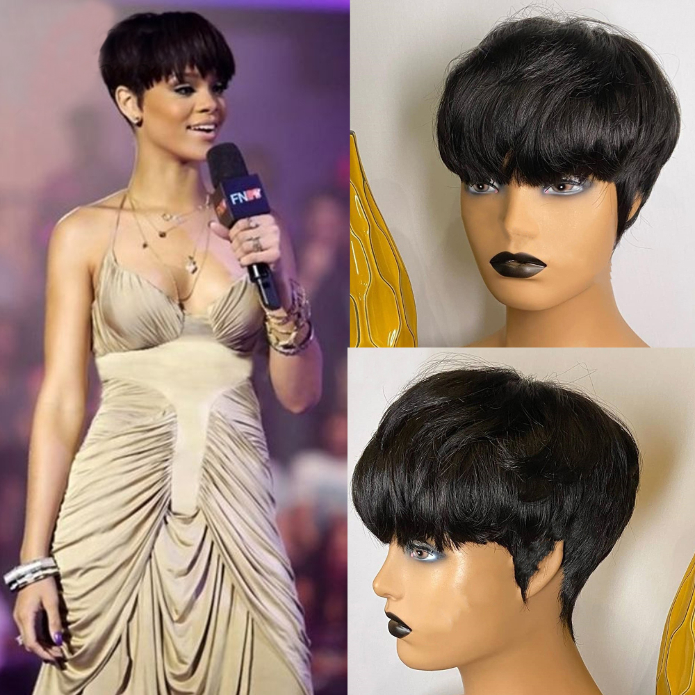 Luna 032 Women Short Straight Layered Wig with Bangs