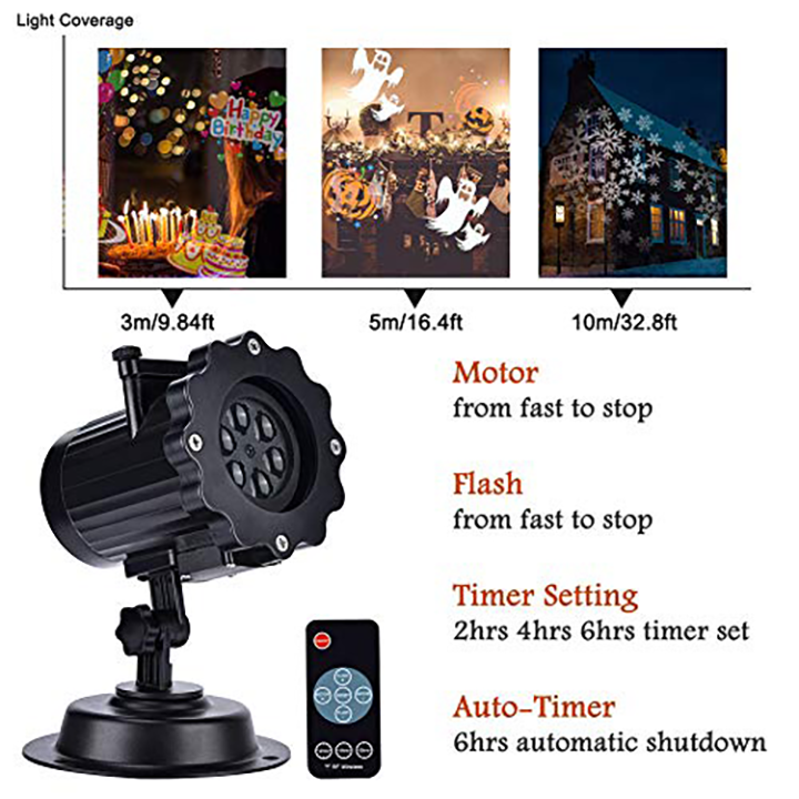 Christmas Light Projector, EECOO Mini Waterproof Projection Lamp
