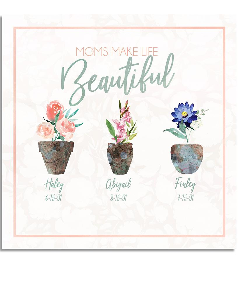 Moms Make Life Beautiful Personalized Wall Art