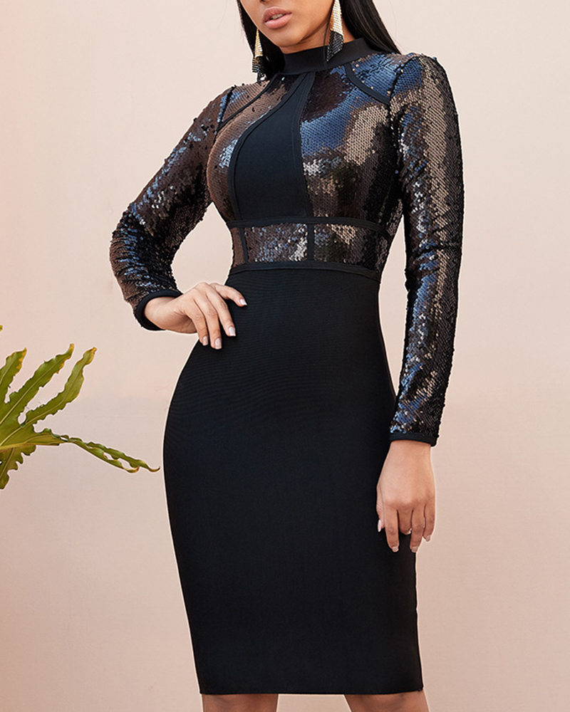 Sequined Long Sleeve Tight Evening Dress