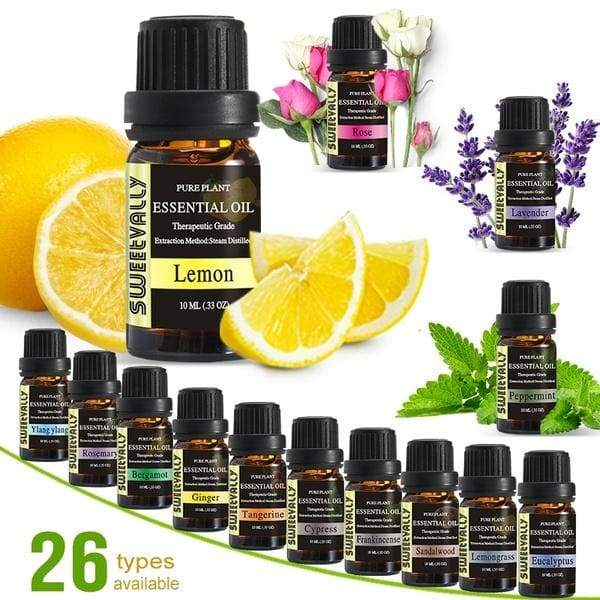1PC 10ml 100% Pure & Natural Aromatherpy Aroma Essential Oil Lavender/Rose/Jasmine 26 Flavours Pure Plant Essential Oil Therapeutic