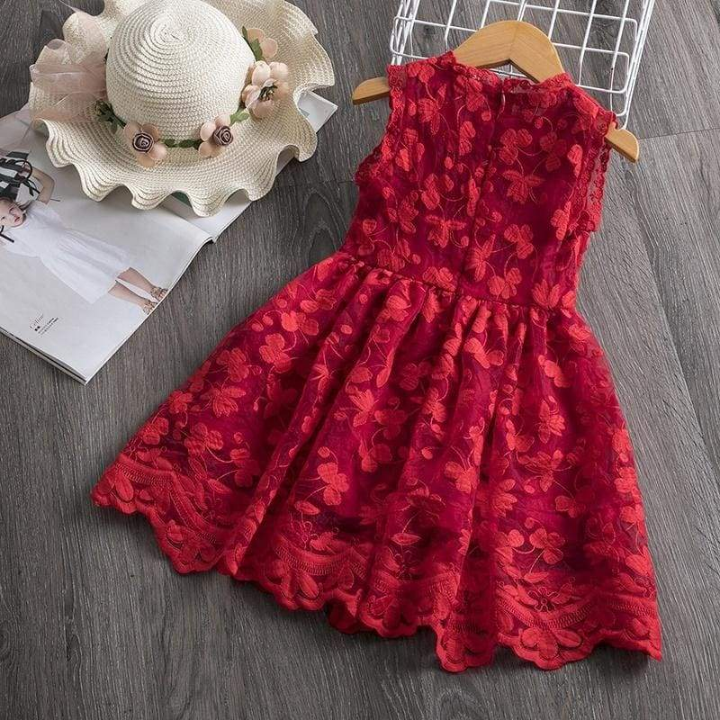 3-8 Years Little Princess Girls Christmas  Red  Lace Floral Tulle Tutu Dress for Casual Birthday Holiday Wear