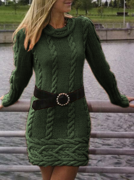 High neck sexy tight sweater dress