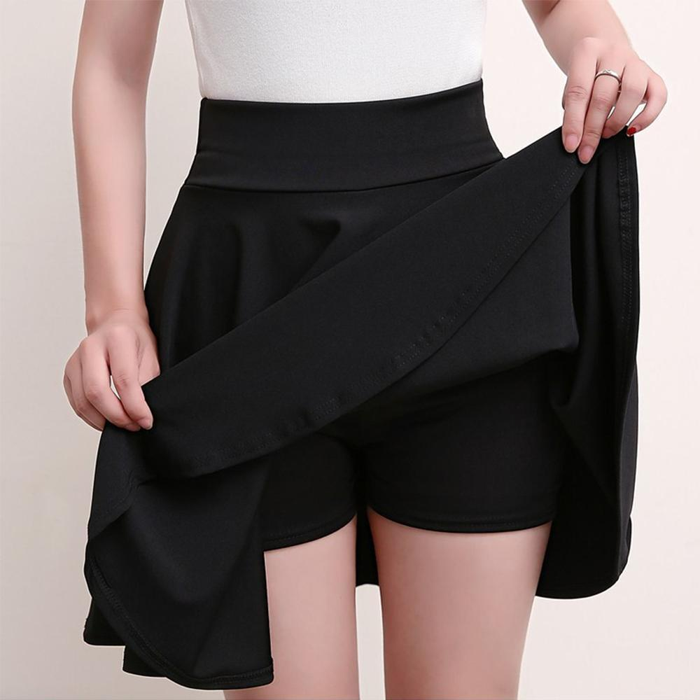 Higomore™ A-line Elastic Waist Pleated Shorts Skirts