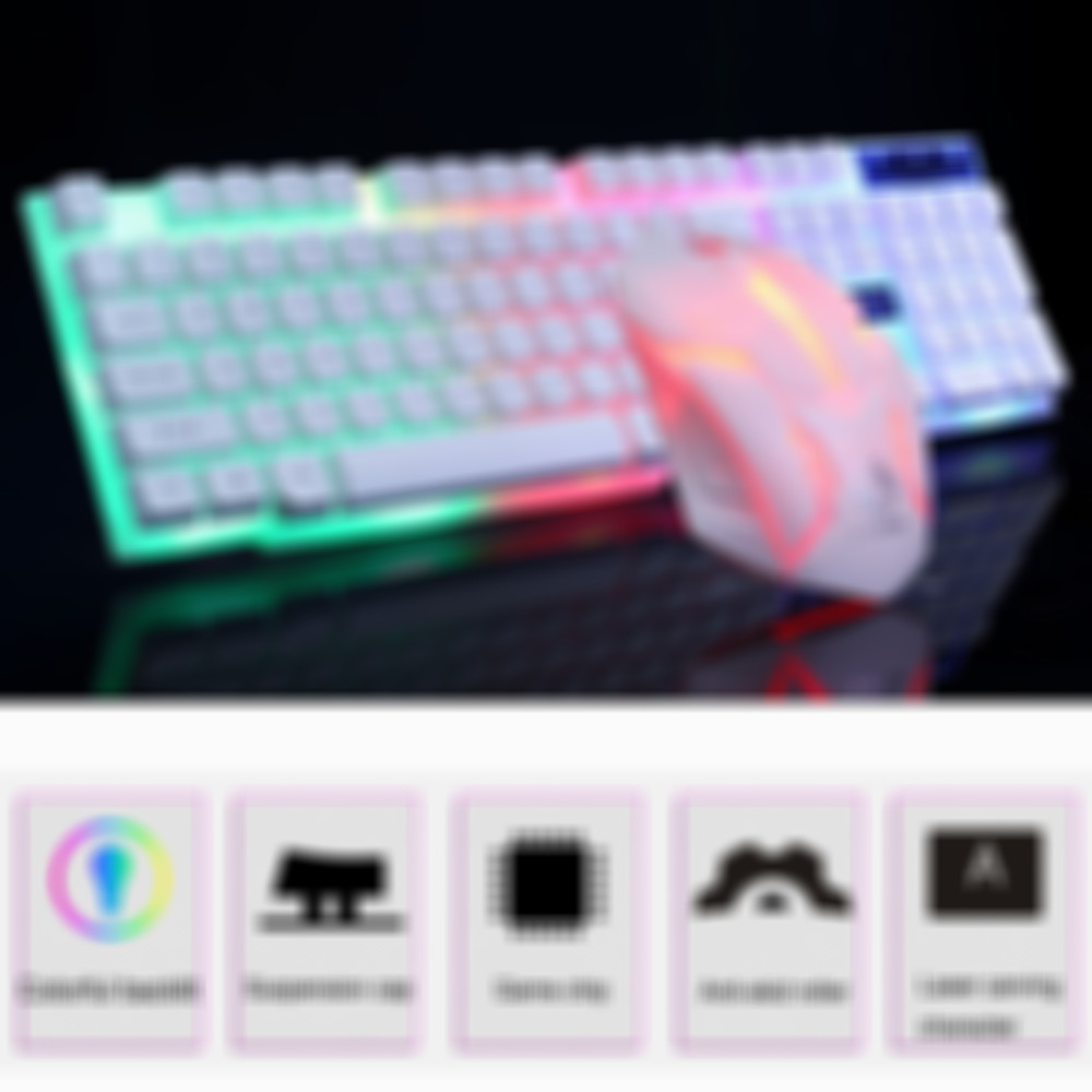 Colorful LED Illuminated Backlit USB Wired PC Rainbow Gaming Keyboard Mouse Set Gamer Gaming Mouse and Keyboard Kit Home Office