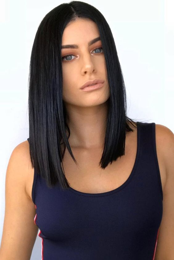 2020 New Straight Wigs Black Long Hair 12 Inch Bob Lace Wig Long Black And White Wig