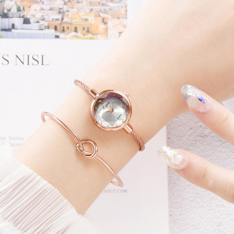 Stylish rope-band water-proof colorful quartz watch paired with mini bracelet