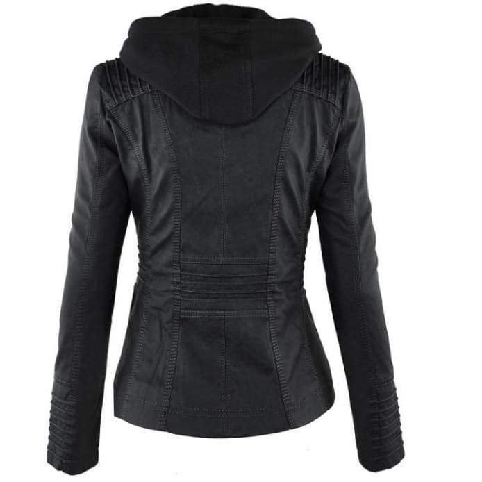 Removable Lapel Long-sleeved Solid Color Zipper Women's Leather Jacket