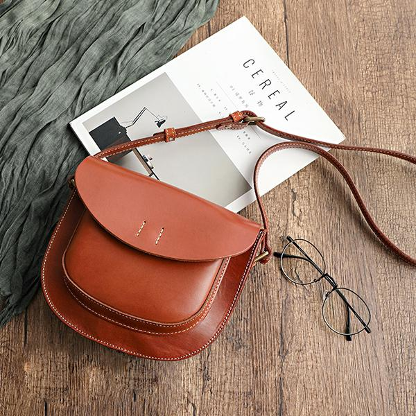 Faddishshoes All-Match Top Layer Vegetable Tanned Leather Cowhide Single Shoulder Ladies Pouch Bag