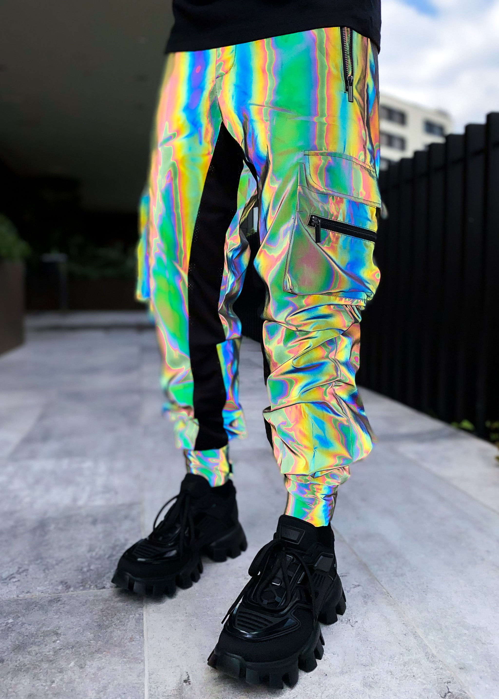 GREEN REFLECTIVE CARGO PANTS