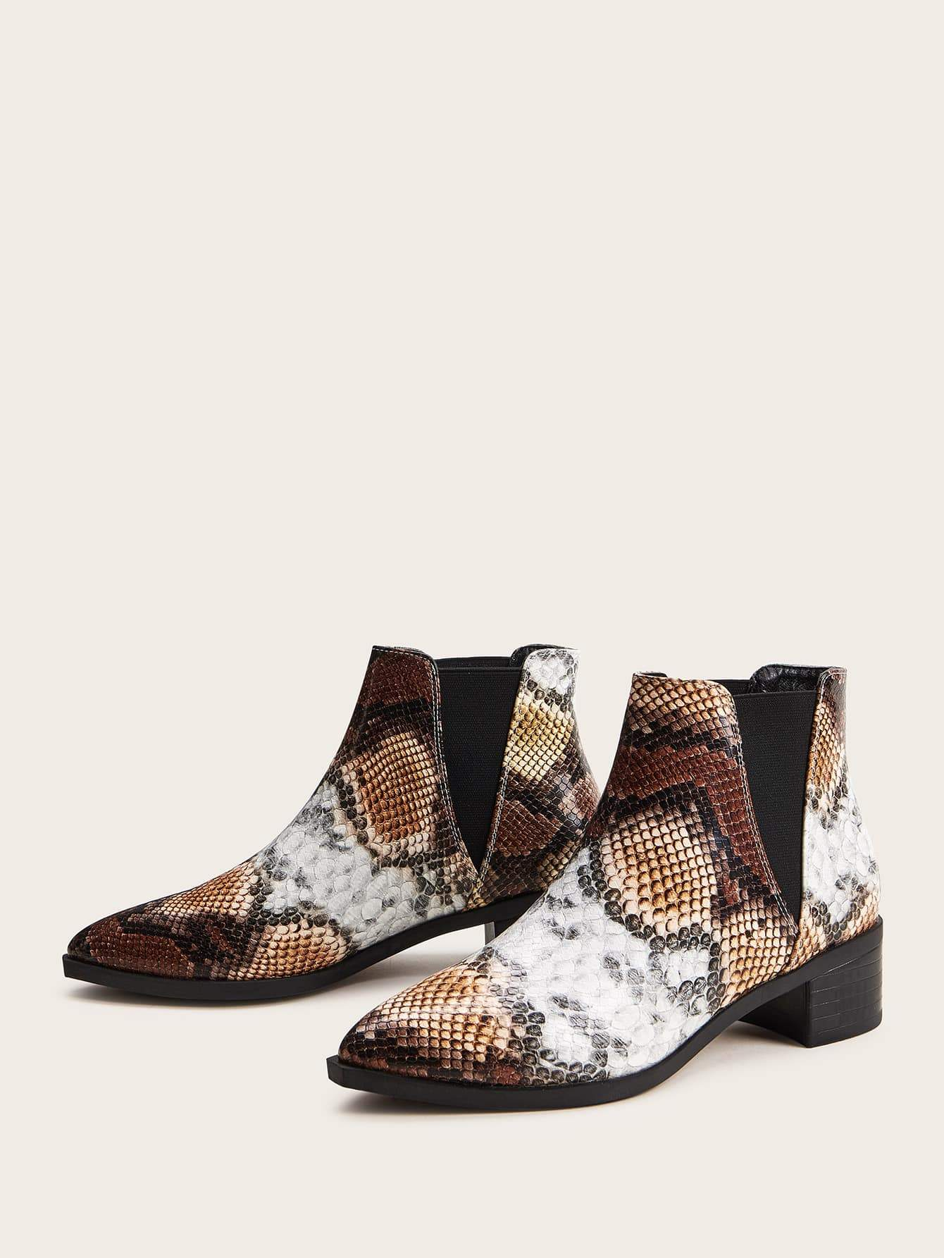Snakeskin Print Chunky Chelsea Boots