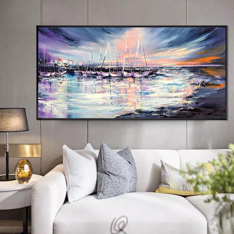 Hand-painted large sea sailboat landscape canvas abstract oil painting art decoration wall oil painting art