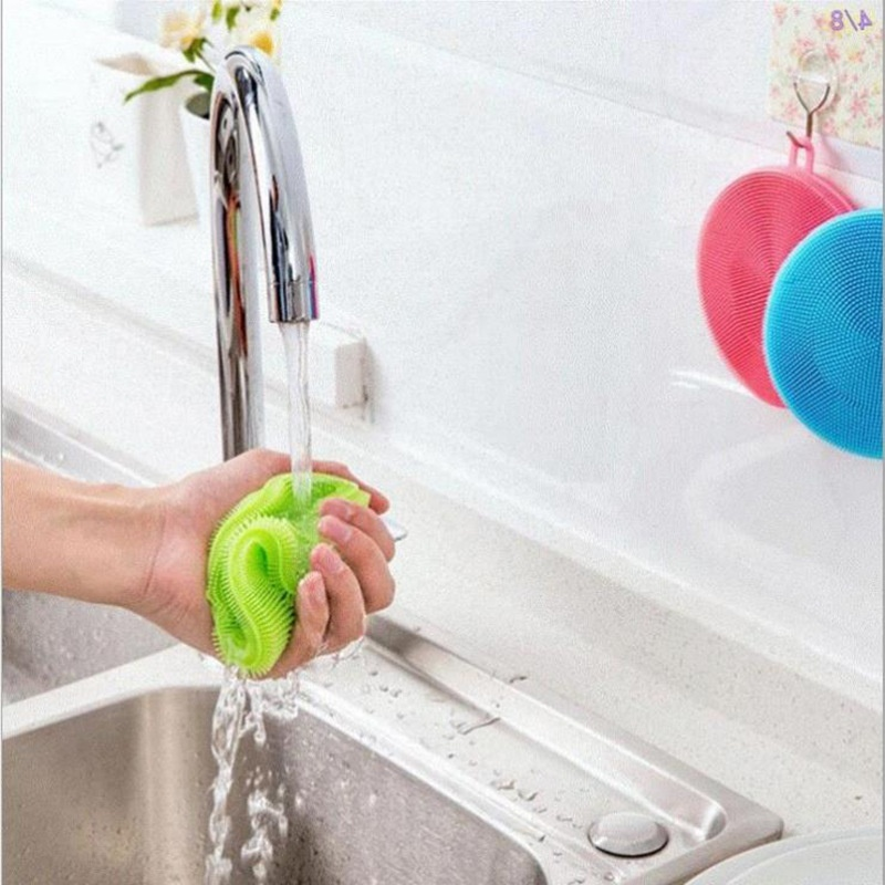 Reusable Silicone Dish Bowl Cleaning Brush Scouring Pad Pot Pan Wash Dishcloth Kitchen Washer Brush Fruit Duster Cloth