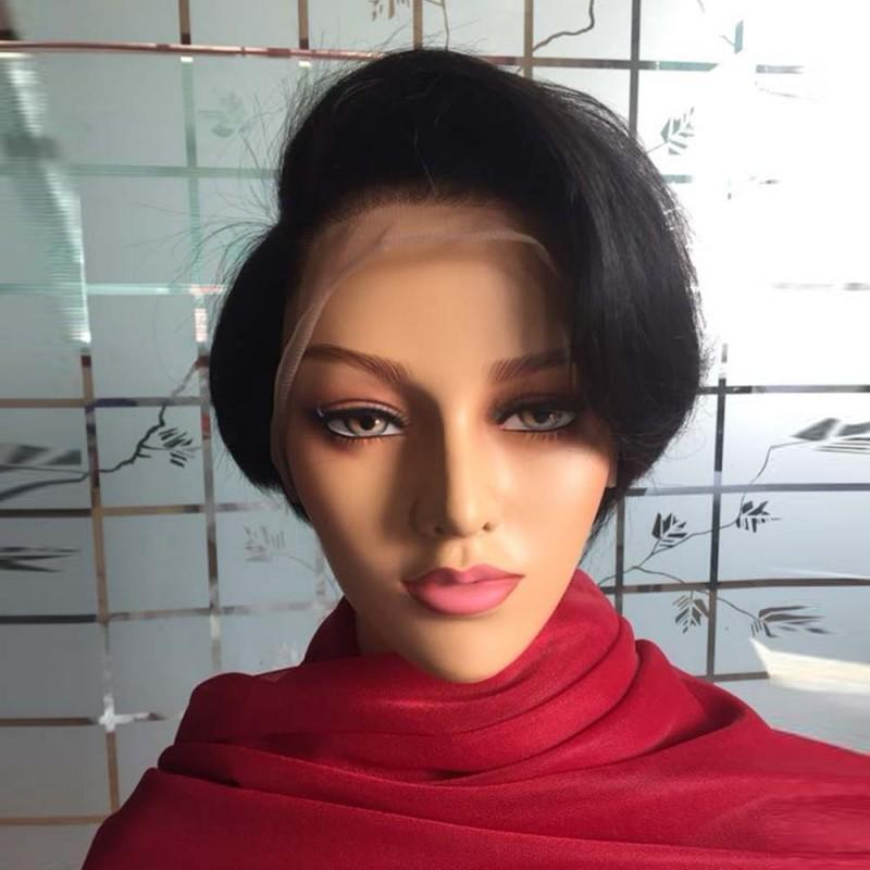 Natural Color Pixie Cut 10 inch 150% Density Bob Cut Lace Front Wigs with Side Bangs
