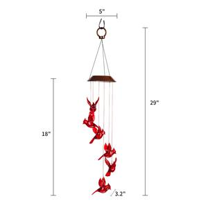 Solar Cardinal Red Bird Wind Chime Light